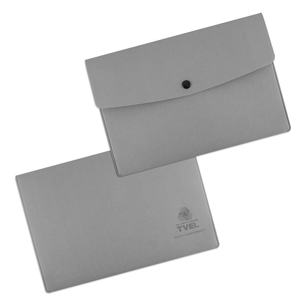 Папка-конверт на кнопке из экокожи